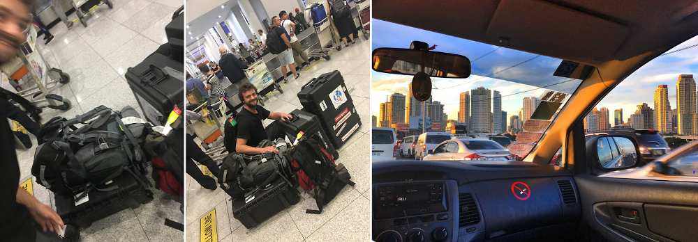 Arriving in Manila with all the equipment