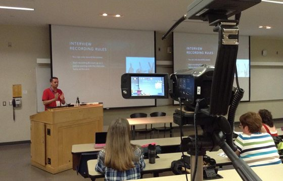 Florian Gottschall being filmed by the camera of WordPress TV during the WordCamp Toronto