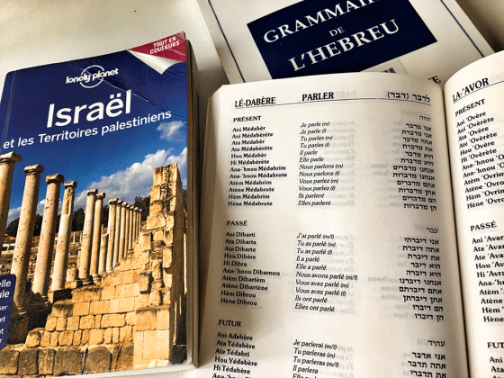 Grammar book and Lonely Planet of Israel
